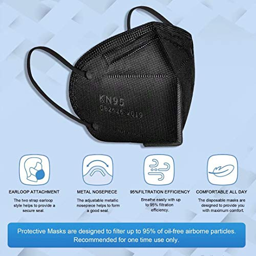 KN95 Disposable Black Face Mask, 10 Pack 5-Ply Protection Breathable Cup Dust Masks, Protection Against PM2.5 Dust. Pollen and Haze-Proof with Elastic Earloop and Nose Bridge Clip K-N95 Masks
