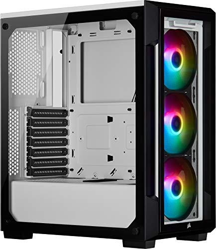 Corsair iCUE 220T RGB, Tempered Glass Mid-Tower ATX Smart Gaming Case, White