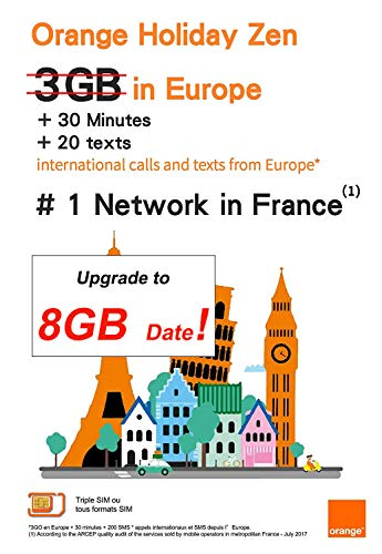 Orange Holiday Europe - 3GB Internet Data in 4G/LTE (Currently 12GB Promotion) + 30mn + 200 Texts from 30 Countries in Europe to Any Country Worldwid