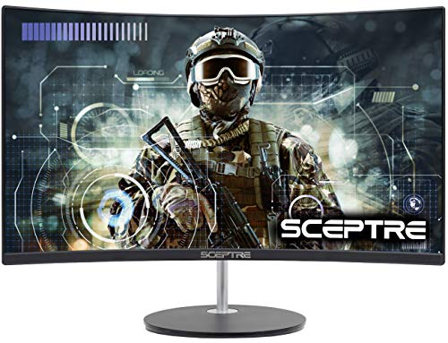 Sceptre 24' Curved 75Hz Gaming LED Monitor Full HD 1080P HDMI VGA Speakers, VESA Wall Mount Ready Metal Black 2019 (C248W-1920RN)