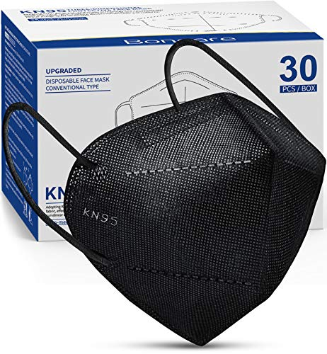 KN95 Face Mask 30 PCs, 5-Layer Black Face Mask for Men & Women Filter Efficiency≥95%, Updated Breathable, Comfortableable