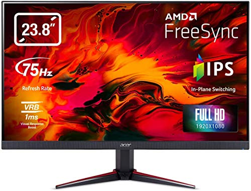 Acer Nitro VG240Y bmiix 23.8' Full HD (1920 x 1080) IPS Monitor with AMD Radeon FREESYNC Technology - 1ms VRB | 75Hz Refresh | (2 x HDMI Ports & 1 x VGA),Black