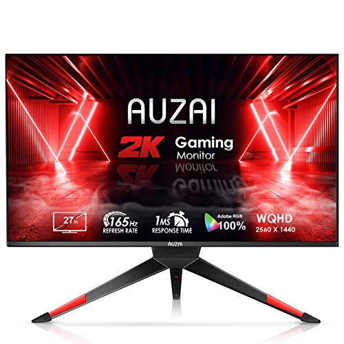 Gaming Monitor - 2021 AUZAI 27 Inch 2K 1ms 165Hz/144Hz Computer Monitor, WQHD 2560x1440p Frameless Screen, Support G-SYNC & FreeSync, Eye Care HDMI Display for Xbox PS4/5, Height/Pivot/Tilt Adjustable