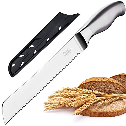 Orblue Serrated Bread Knife Ultra-Sharp Stainless Steel Professional Grade Bread Cutter