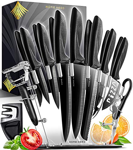 Home Hero 17 Pieces Kitchen Knives Set, 13 Stainless Steel Knives + Acrylic Stand