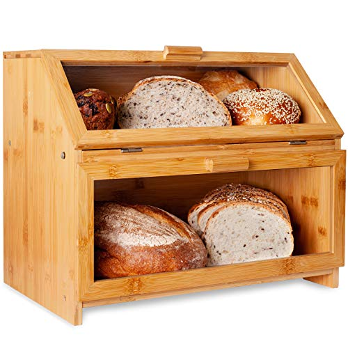 LAURA'S GREEN KITCHEN Extra Large Double Compartment Bread Box