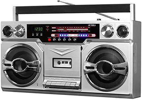Victrola 1980s Retro Bluetooth Boombox with Cassette Player