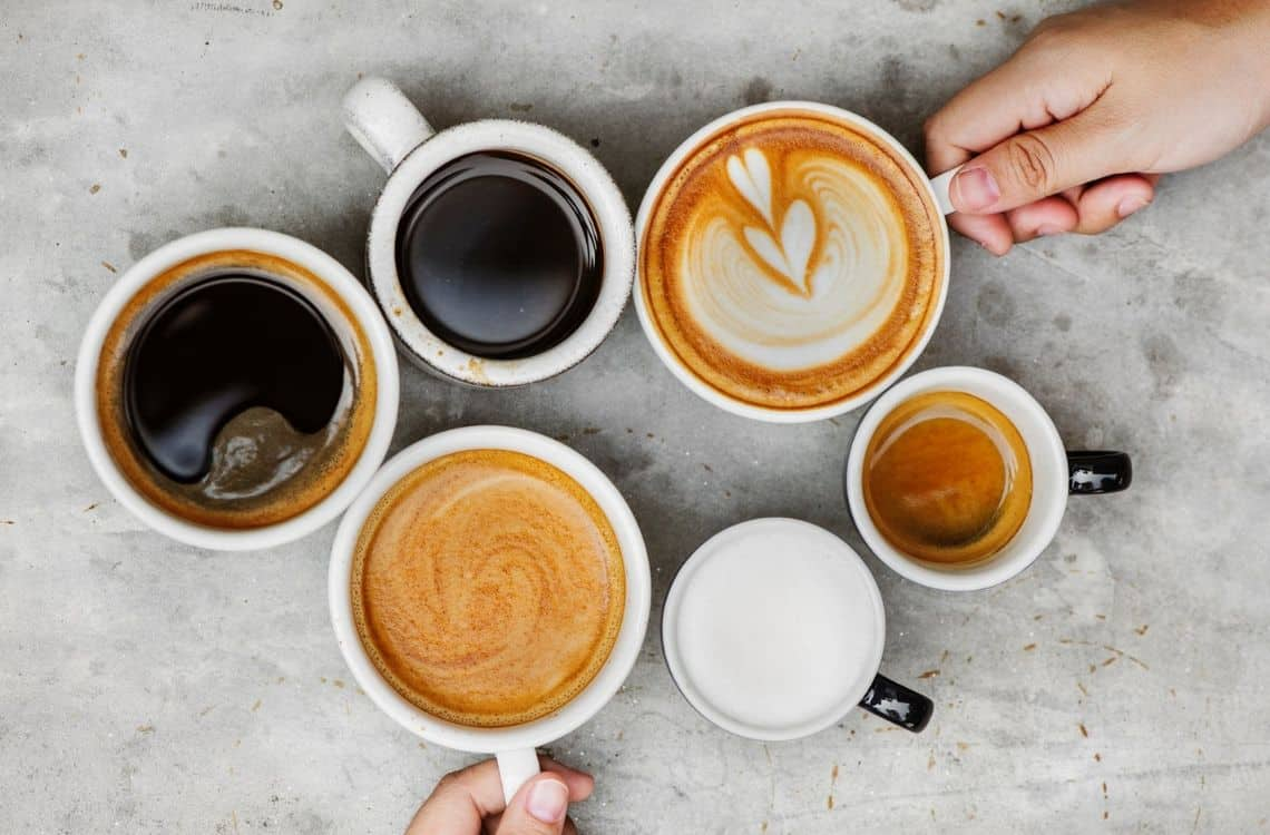 variety of coffee cups